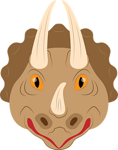 Triceratops face clipart
