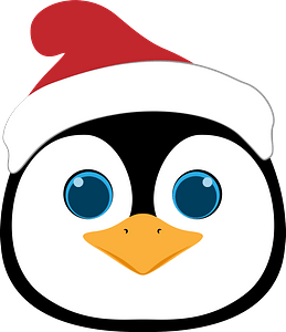 Christmas penguin face clipart