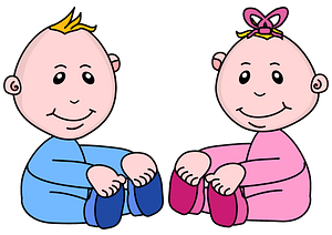 Baby boy and girl clipart