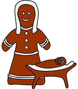 Gingerbread Mary and Jesus clipart