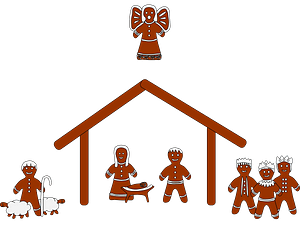 Gingerbread Nativity scene clipart