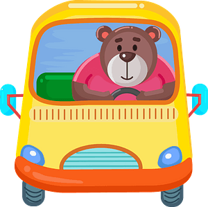 Bear with the bus clipart