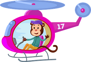 Monkey with helicopter clipart