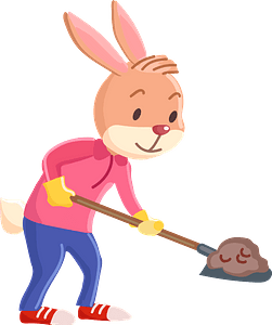 Rabbit with a shovel clipart