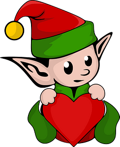 Christmas elf with heart clipart