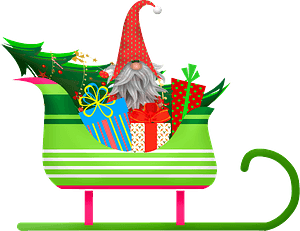 Christmas gnome in Santa's sleigh clipart
