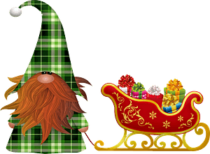Christmas gnome and Santa's sleigh clipart