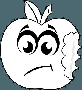 Sad bitten apple clipart