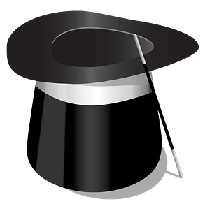 Top hat and magic wand clipart