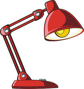 Red table lamp clipart