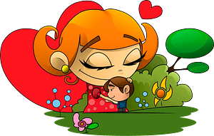Cartoon mother and son clipart