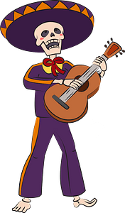 Dia de los muertos with skeleton playing guitar clipart
