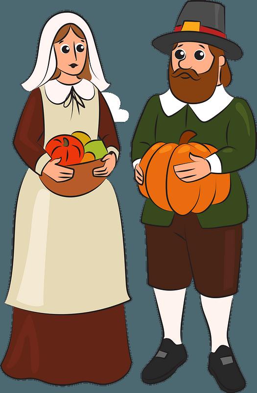 Pilgrim couple clipart