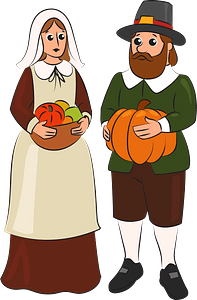 Pilgrim couple clipart