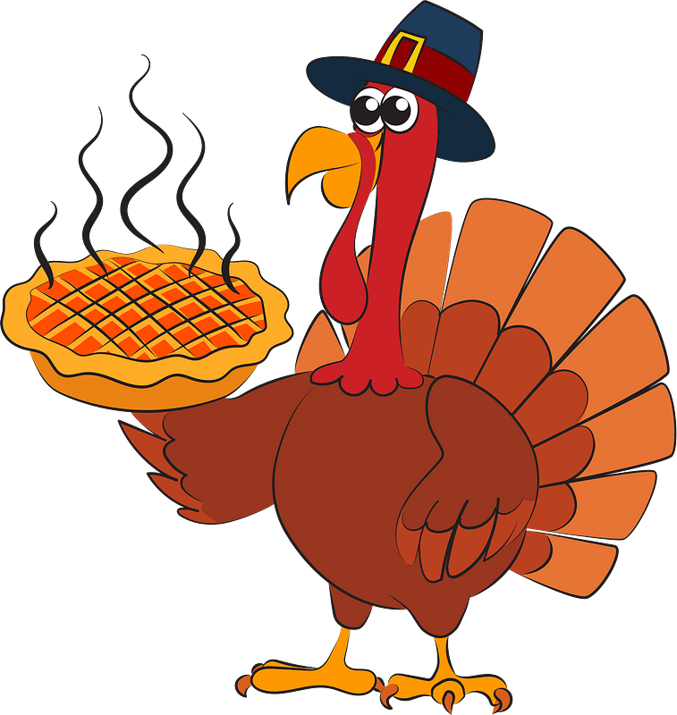 Thanksgiving turkey in pilgrim hat serving hot pumpkin pie clipart