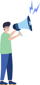 Man with megaphone clipart