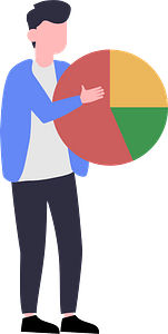 Man with pie chart clipart