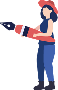 Woman with a fountain pen clipart