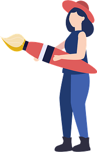 Woman with paintbrush clipart
