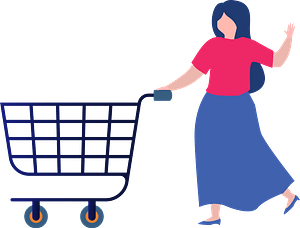 Woman with a shopping cart clipart