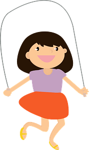 Girl with a jumping rope clipart