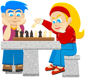 Kids Playing Chess clipart