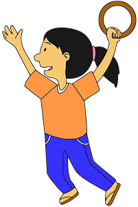Girl playing outdoors clipart