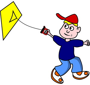 Boy with a kite clipart