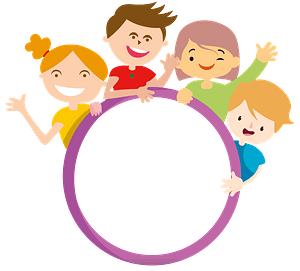 Four kids and circle clipart