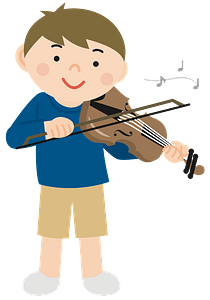 Boy playing violin clipart