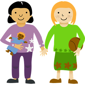 Two little girls clipart