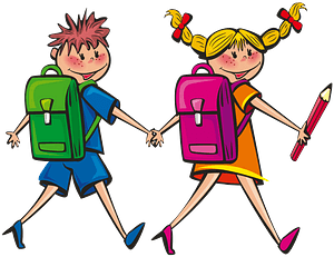 Kids going to school clipart