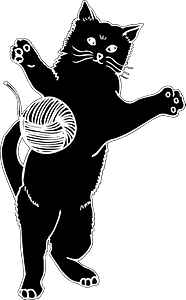 Cat Playing with Ball of Yarn clipart