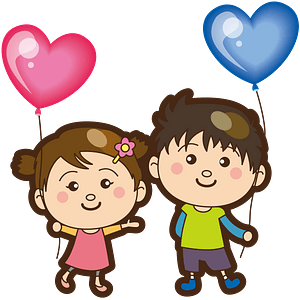 Boy and girl with heart balloons clipart