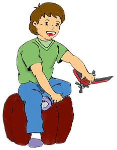 Boy playing with a plane clipart