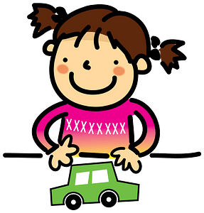 Girl plays with a toy car clipart