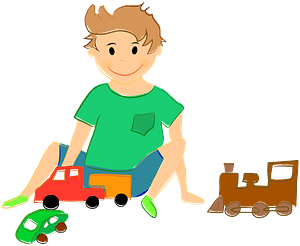 Boy playing with toy cars and train clipart