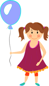Baby girl with a balloon clipart