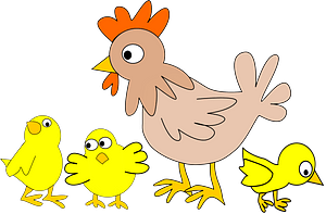 Hen with Three Chicken clipart