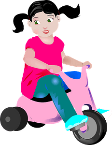 Girl on a tricycle clipart