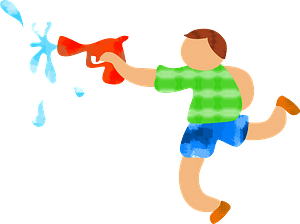 Kid playing with watergun clipart
