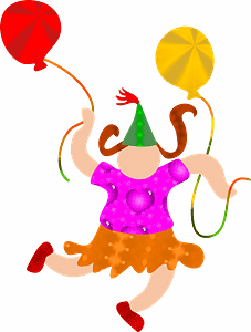 Girl plays with balloons clipart