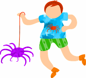 Kid playing with spider clipart