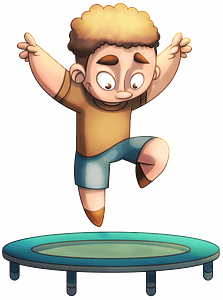 Boy jumping on a trampoline clipart
