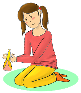 Girl plays with a doll clipart
