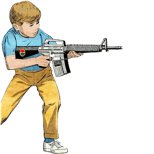 Boy playing with a machine gun clipart