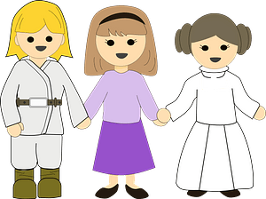 Girls in costumes holding hands clipart