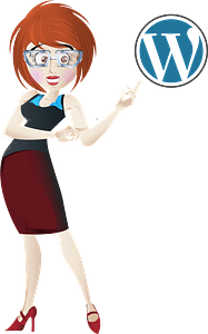 Woman showing WordPress logo clipart