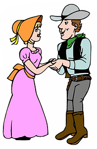 Cowboy with a lady clipart