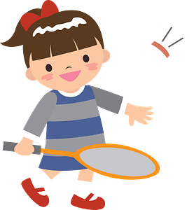 Girl is playing badminton clipart